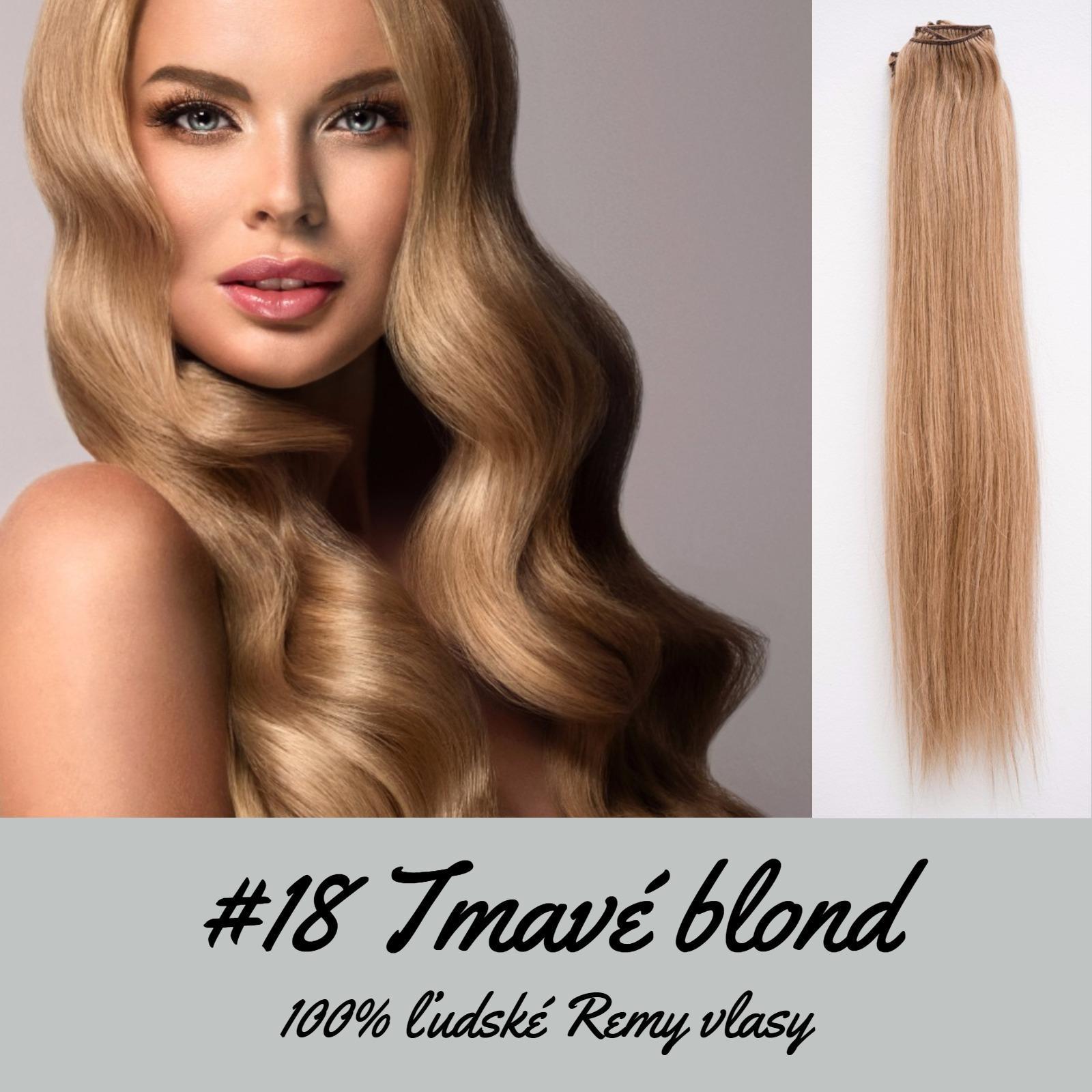Ľudské Clip in vlasy Tmavá blond 50cm  - Obrázok č. 1