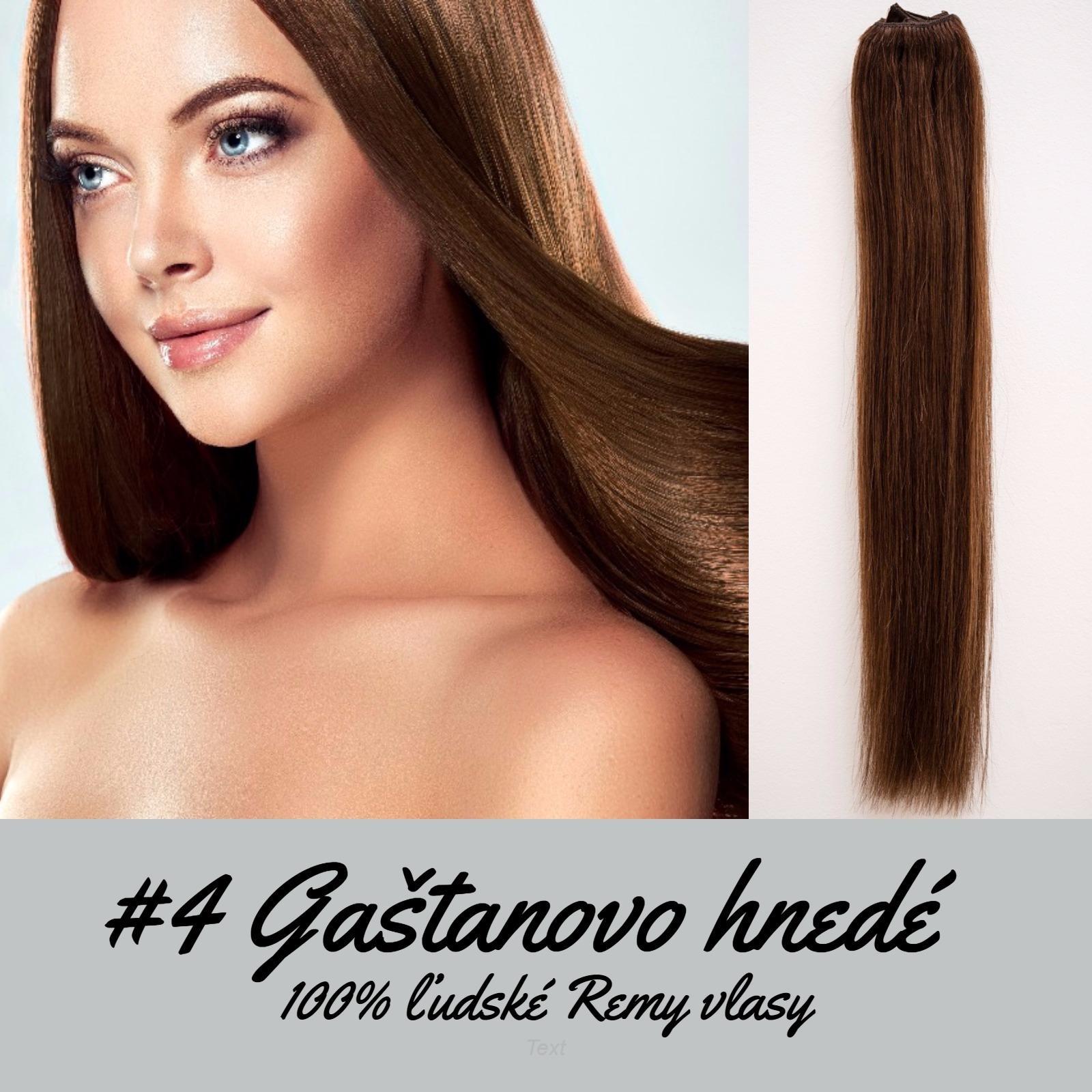 Ľudské Clip in vlasy Gaštanovo hnedá 50cm - Obrázok č. 1