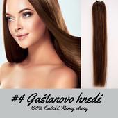 Ľudské Clip in vlasy Gaštanovo hnedá 50cm,