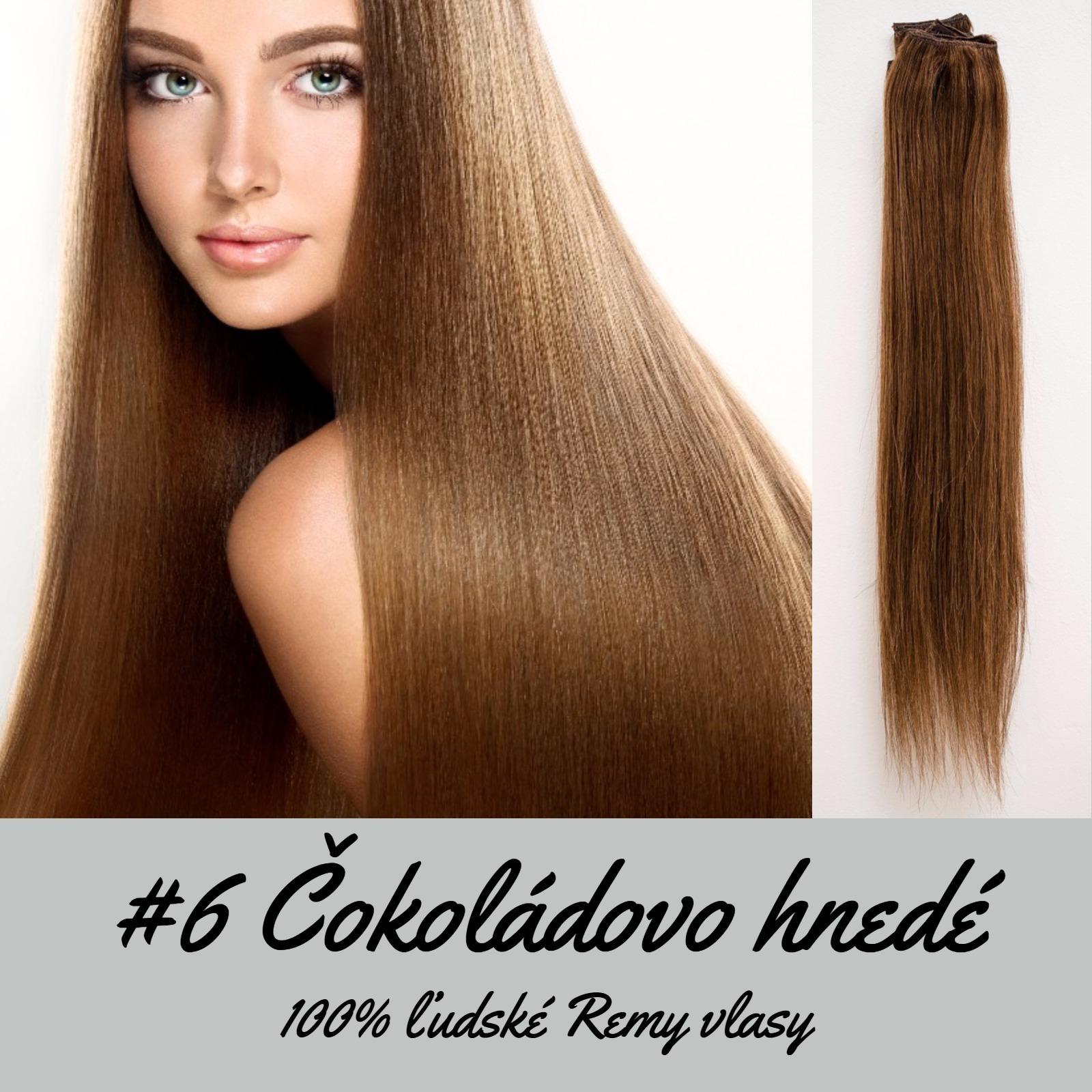 Ľudské Clip in vlasy Čokoládovo hnedá 50cm  - Obrázok č. 1