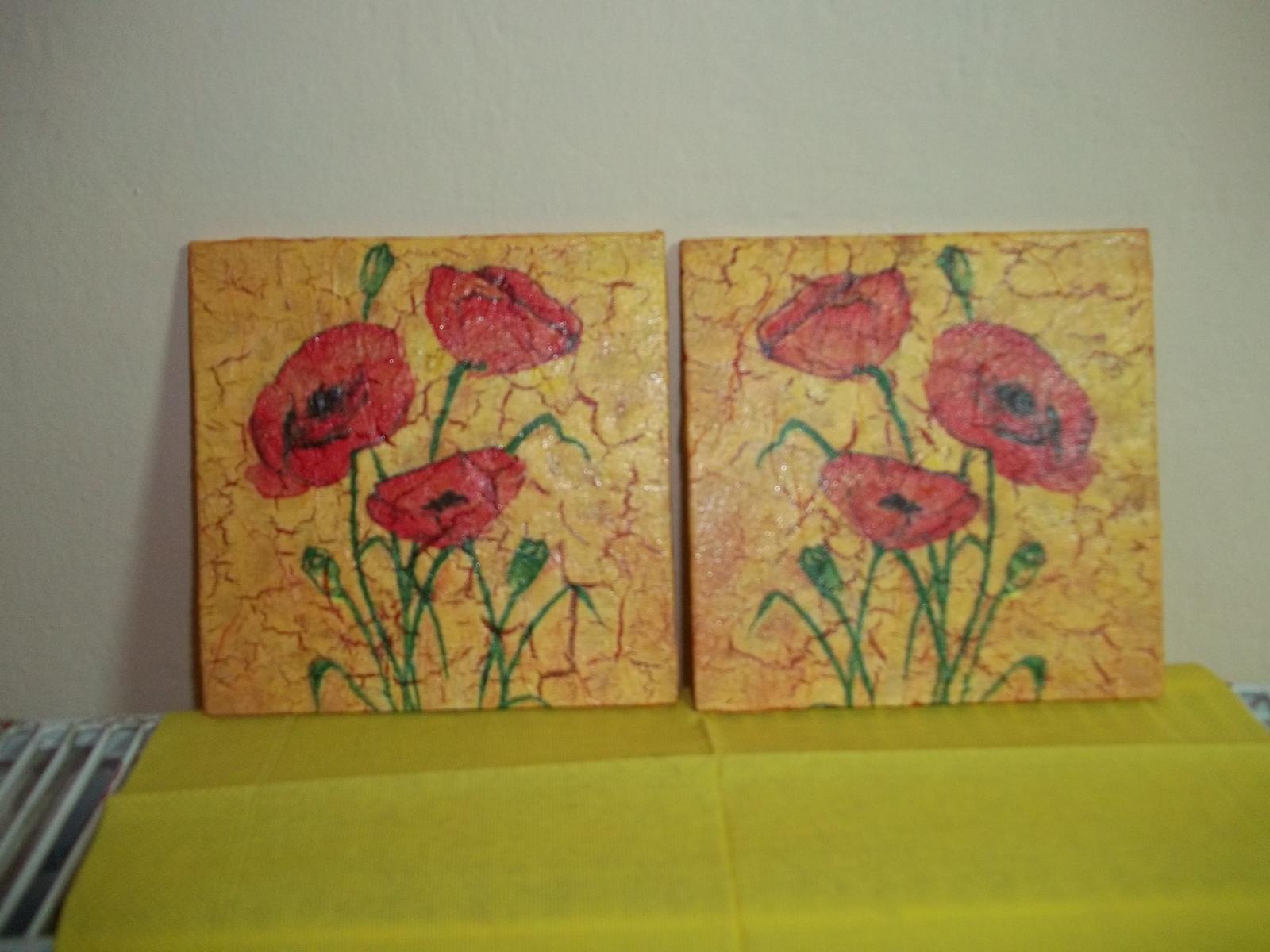 Dva obrázky s vlčími makmi, cena spolu - Obrázok č. 1