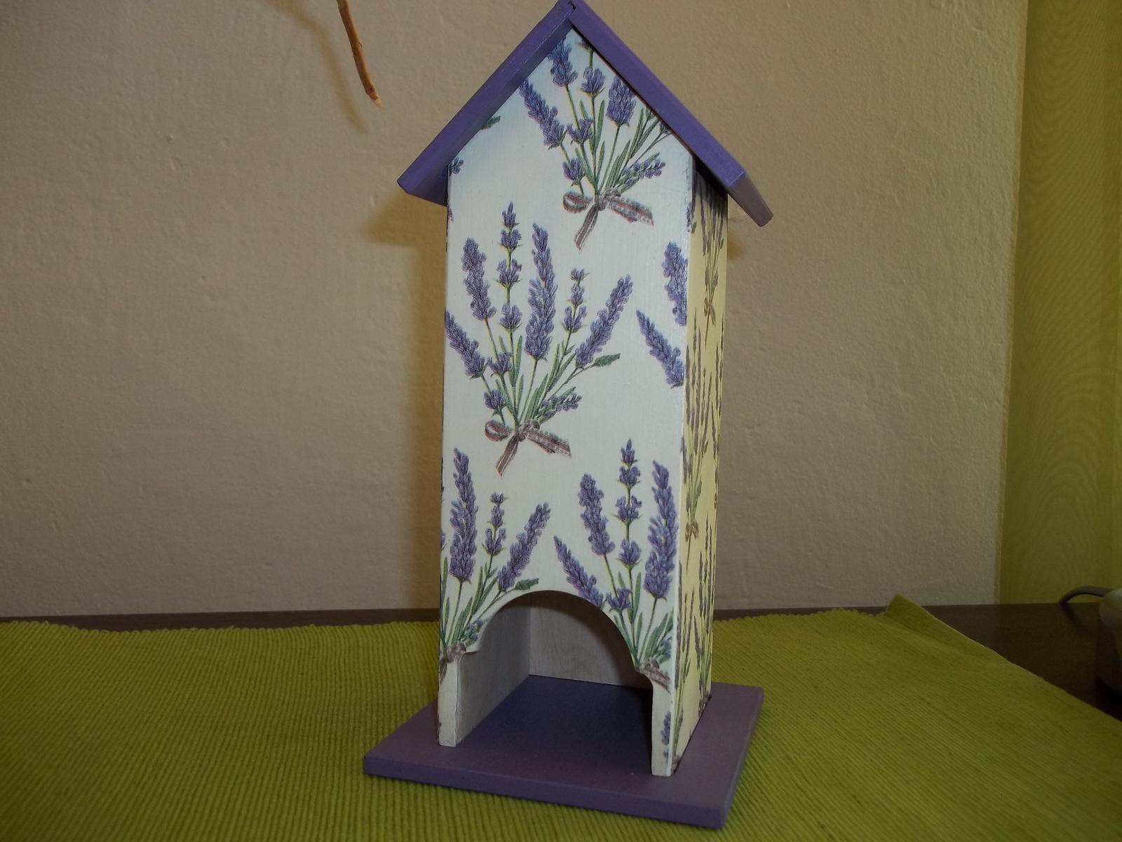 Drevený domček na čajové vrecúška s levanduľou,s poštou - Obrázok č. 1
