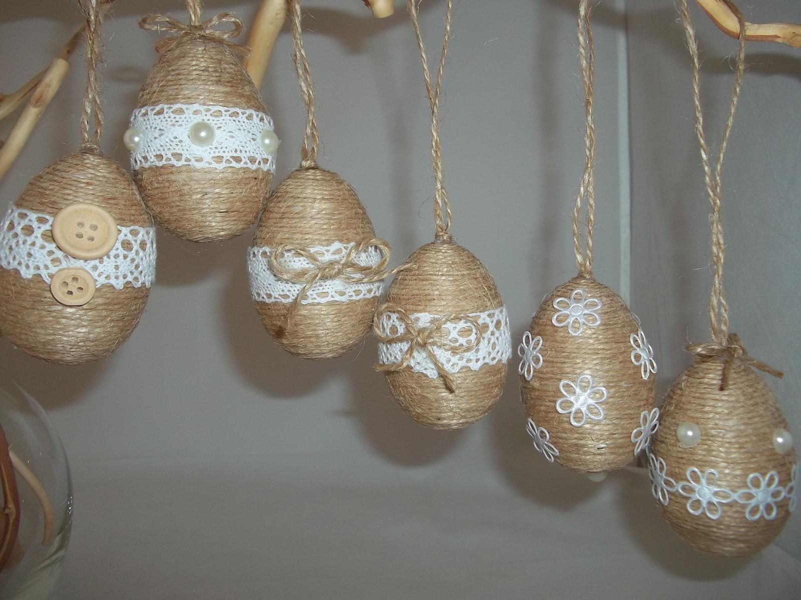 Jutové veľkonočné vajíčka, sada - Obrázok č. 1