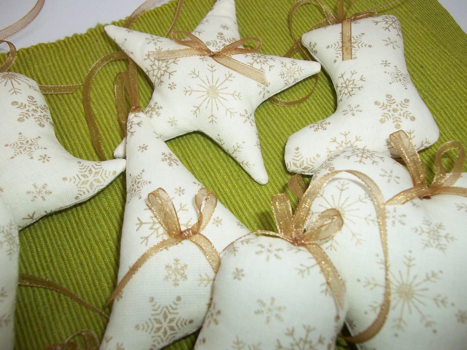 Krémovo zlaté vianočné ozdôbky, sada 12ks,s poštovným - Obrázok č. 3