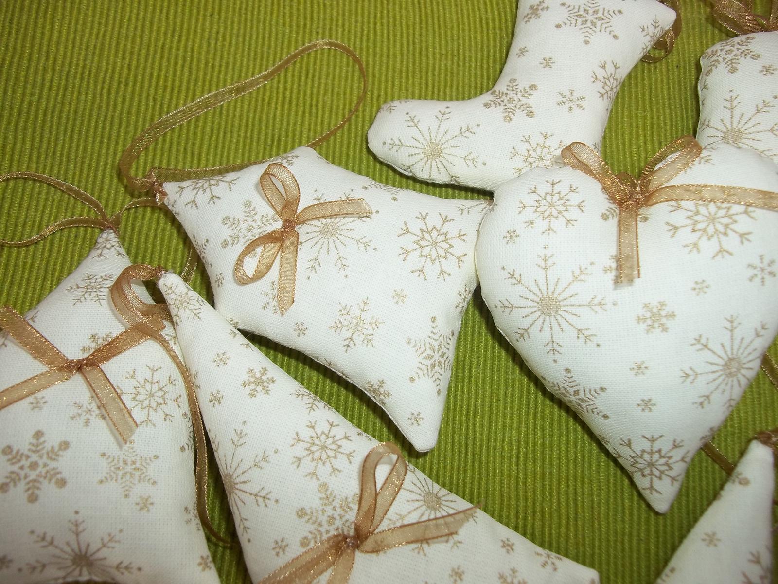 Krémovo zlaté vianočné ozdôbky, sada 12ks,s poštovným - Obrázok č. 4