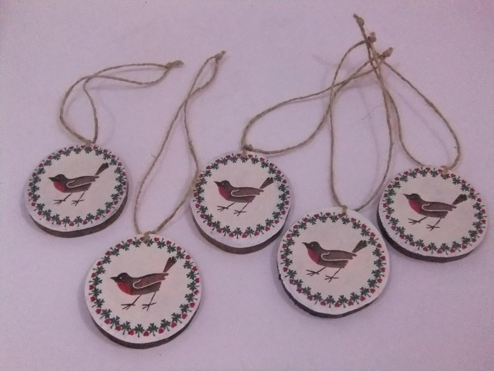 Prírodná dekorácia vtáčiky,sada 5ks s poštou - Obrázok č. 2