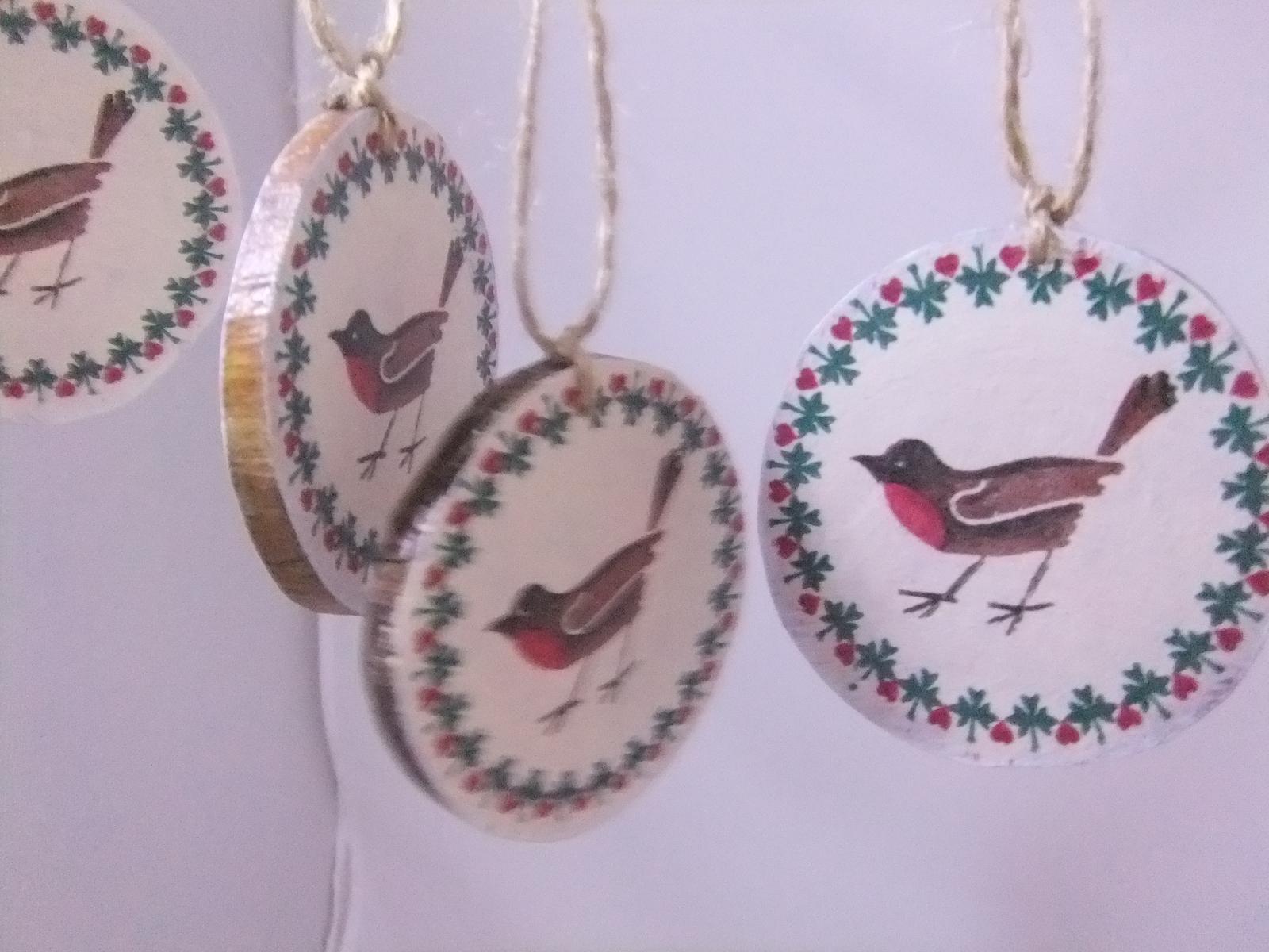 Prírodná dekorácia vtáčiky,sada 5ks s poštou - Obrázok č. 4