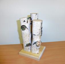 Využitie vypíleného konára brezy - nový svietnik na čajové sviečky