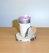 Využitie vypíleného konára brezy - ani kúsok na zmar - nový svietnik na čajové sviečky