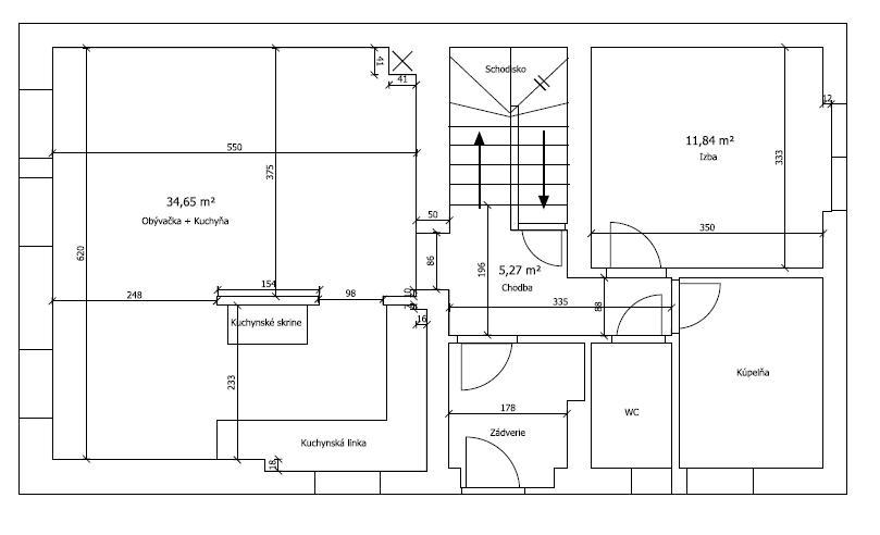 Prikladám náčrtok prízemia RD...rekontrukcia... - Obrázok č. 1