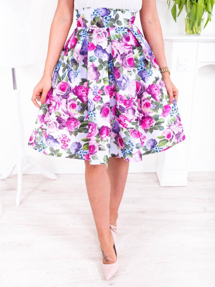 Farebná kvetinová krátka sukňa - Obrázok č. 3