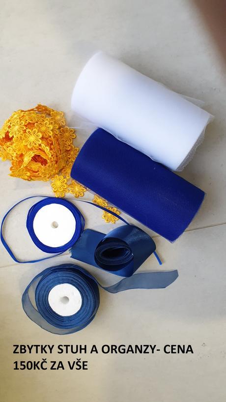Zbytky organzy a stuh- modrá, žlutá, bílá - Obrázek č. 1