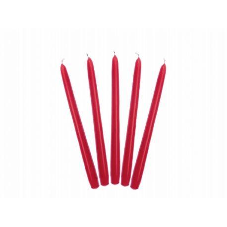 Sviečka kónická červená matná - 24cm - Obrázok č. 1