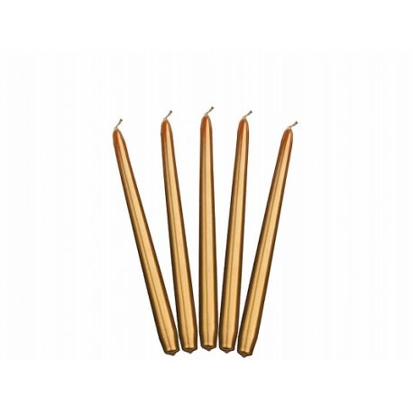 Sviečka kónická zlatá metalická - 24cm - Obrázok č. 1