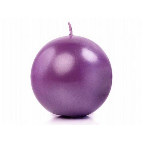 Sviečka guľa fialová metalická - Obrázok č. 1