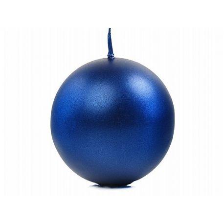 Sviečka guľa modrá/tmavá metalická - Obrázok č. 1