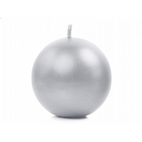 Sviečka guľa strieborná metalická - Obrázok č. 1