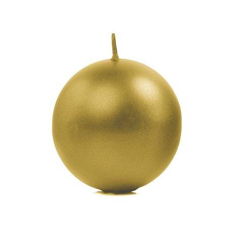 Sviečka guľa zlatá metalická - Obrázok č. 1