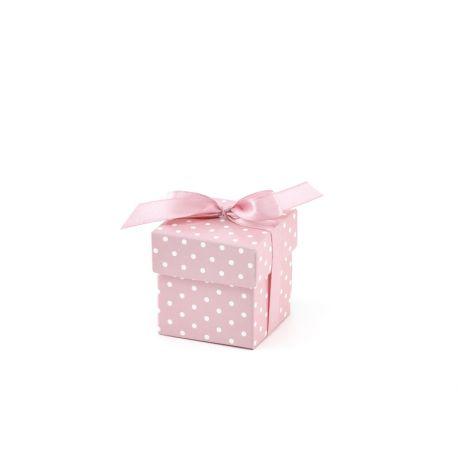 Krabička s bodkami na darčeky pre hostí - ružová - Obrázok č. 1