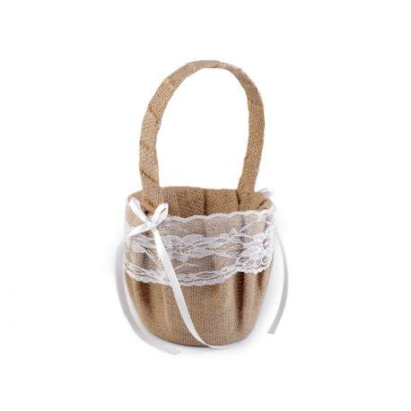 Košíček pre družičky juta a čipka - Obrázok č. 1