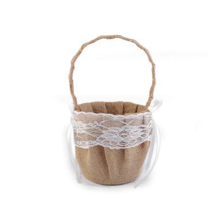 Košíček pre družičky juta a čipka - Obrázok č. 2