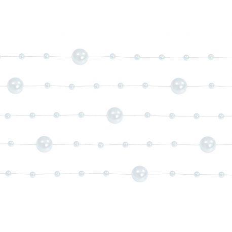 Girlanda perlová 1,3m biela - Obrázok č. 1