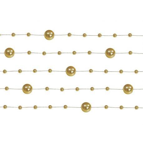 Girlanda perlová 1,3m zlatá - Obrázok č. 1