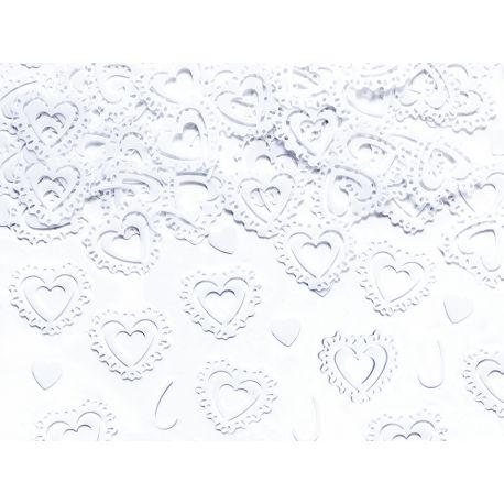 Konfety vyrezávané srdcia biele - Obrázok č. 1
