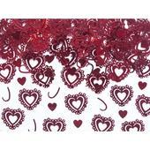 Konfety vyrezávané srdcia červené,
