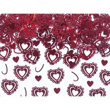 Konfety vyrezávané srdcia červené - Obrázok č. 1