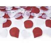 Vystreľovacie konfety (granát) - biele srdcia,