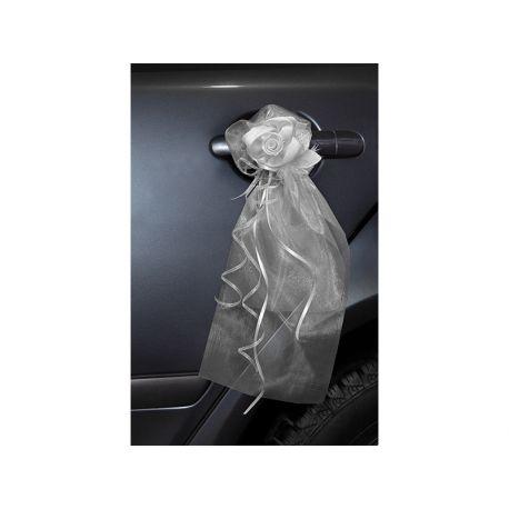 Dekoračná mašľa s ružičkou biela - Obrázok č. 1