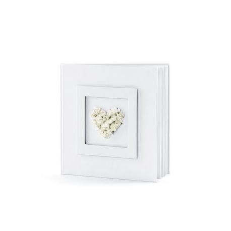 Svadobná kniha hostí s kvetinovým srdcom biela - Obrázok č. 1