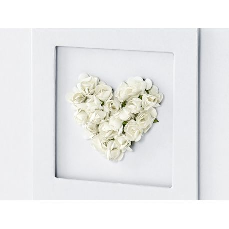Svadobná kniha hostí s kvetinovým srdcom biela - Obrázok č. 2