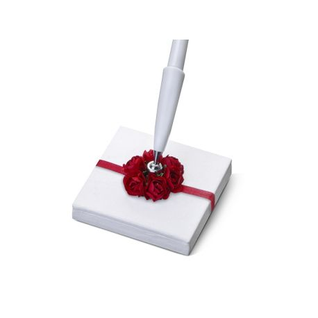 Svadobné pero so stojančekom s bordovým kvietkom  - Obrázok č. 2