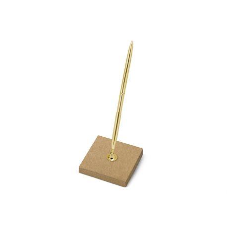 Svadobné pero so stojančekom zlaté - Obrázok č. 1