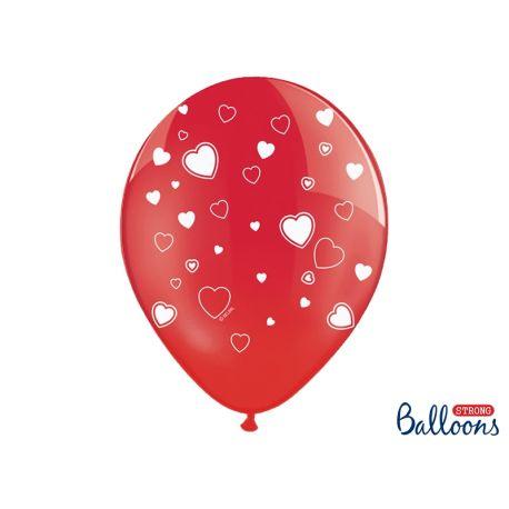 Balón Crystal červený - biele srdcia - Obrázok č. 1