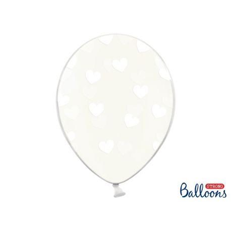 Balón Crystal Clear - biele srdiečka - Obrázok č. 1