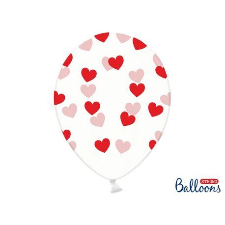 Balón Crystal Clear - červené srdiečka - Obrázok č. 1