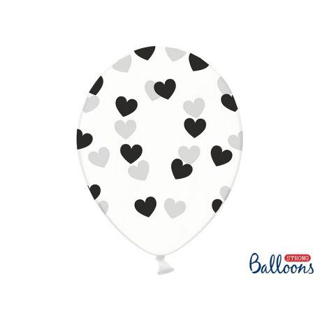 Balón Crystal Clear - čierne srdiečka - Obrázok č. 1