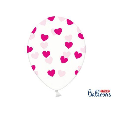 Balón Crystal Clear - fuchsiové srdiečka - Obrázok č. 1