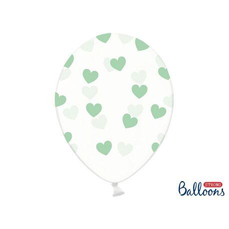 Balón Crystal Clear - mentolové srdiečka  - Obrázok č. 1