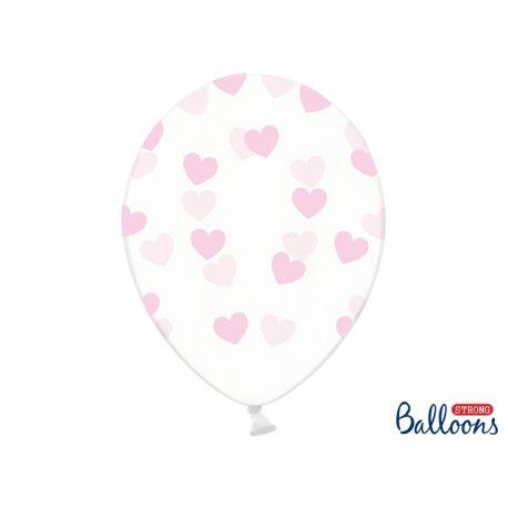 Balón Crystal Clear - ružové srdiečka - Obrázok č. 1