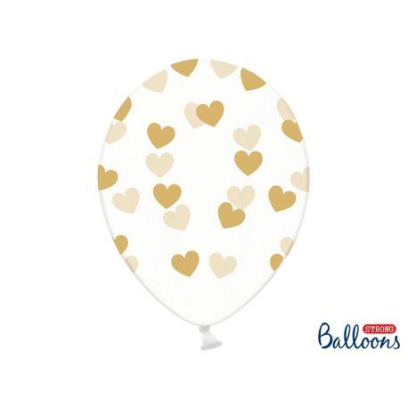 Balón Crystal Clear - zlaté srdiečka - Obrázok č. 1