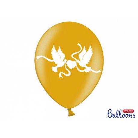 Balón Metallic zlatý - biele holubice - Obrázok č. 1