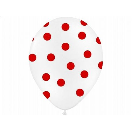 Balón Pastel biely - červené bodky - Obrázok č. 1
