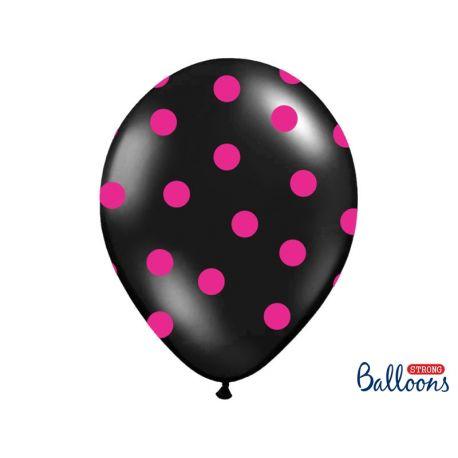 Balón Pastel čierny - ružové bodky - Obrázok č. 1