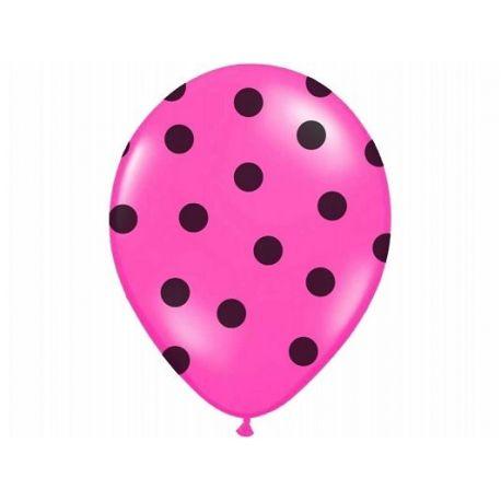 Balón Pastel cyklamenový - čierne bodky - Obrázok č. 1