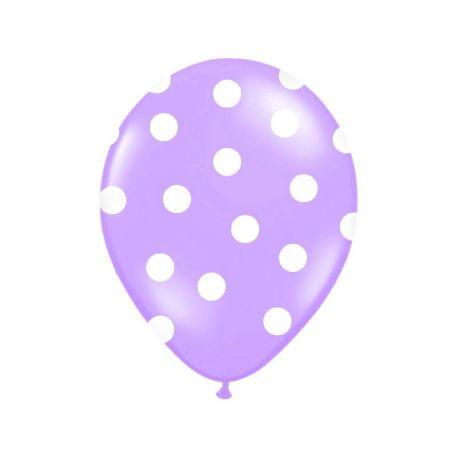 Balón Pastel fialový - biele bodky - Obrázok č. 1