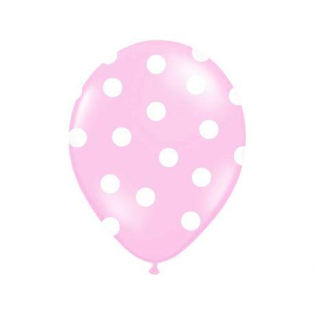 Balón Pastel ružový - biele bodky - Obrázok č. 1